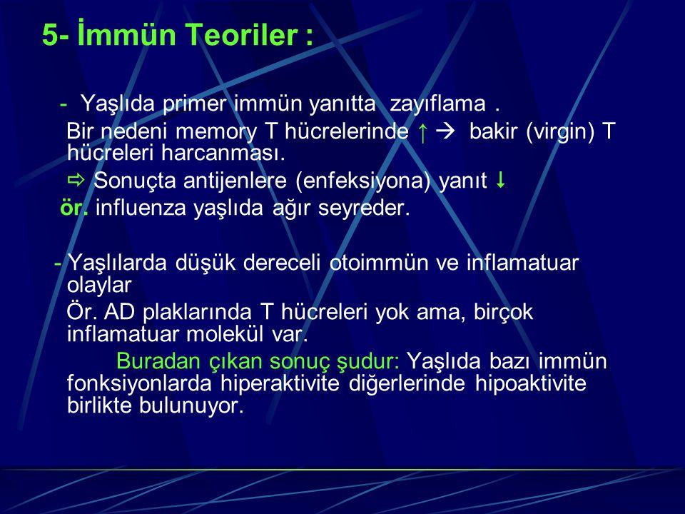 5- İmmün Teoriler : - Yaşlıda primer immün yanıtta zayıflama. Bir nedeni memory T hücrelerinde ↑  bakir (virgin) T hücreleri harcanması.  Sonuçta an