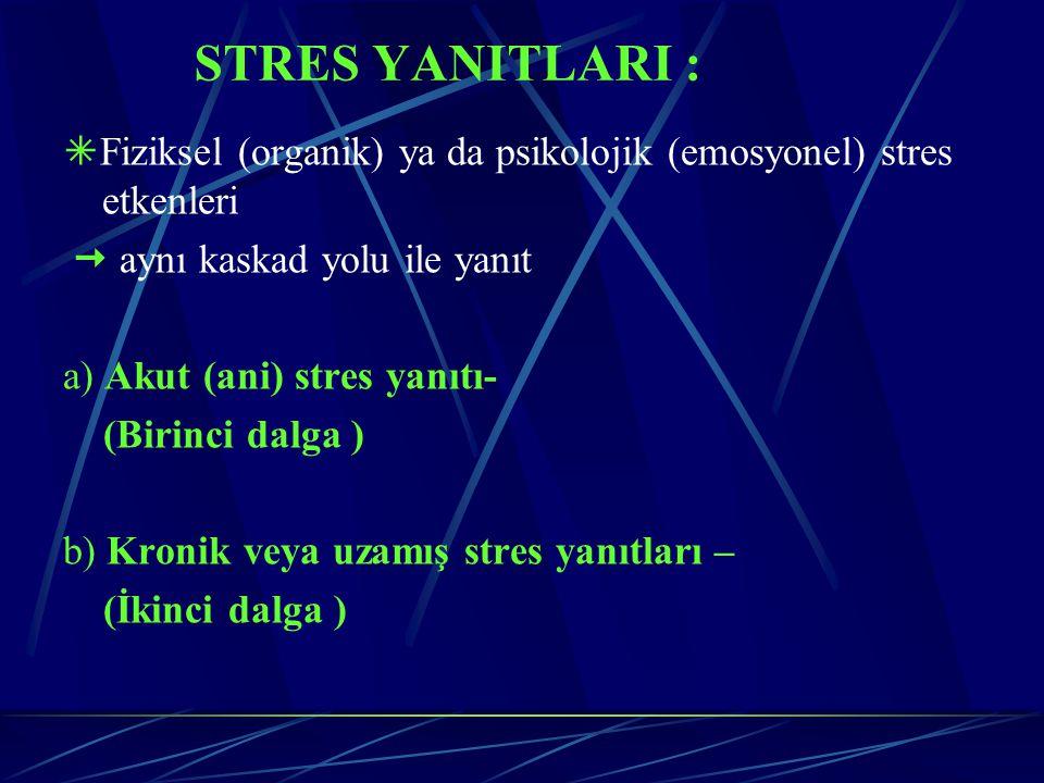 STRES YANITLARI :  Fiziksel (organik) ya da psikolojik (emosyonel) stres etkenleri  aynı kaskad yolu ile yanıt a) Akut (ani) stres yanıtı- (Birinci