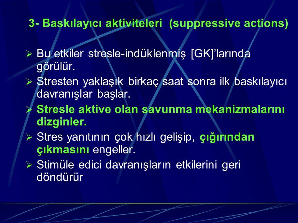 3- Baskılayıcı aktiviteleri (suppressive actions)  Bu etkiler stresle-indüklenmiş [GK]'larında görülür.  Stresten yaklaşık birkaç saat sonra ilk bas