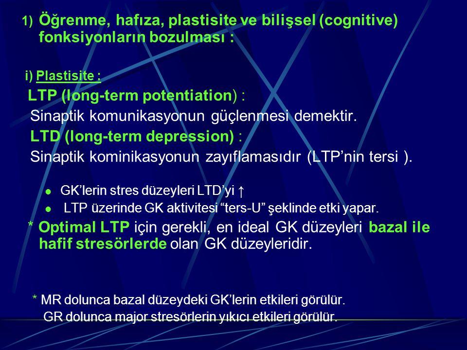 1) Öğrenme, hafıza, plastisite ve bilişsel (cognitive) fonksiyonların bozulması : i) Plastisite : LTP (long-term potentiation) : Sinaptik komunikasyon