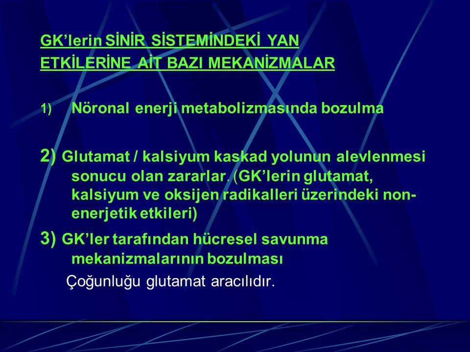 GK'lerin SİNİR SİSTEMİNDEKİ YAN ETKİLERİNE AİT BAZI MEKANİZMALAR 1) Nöronal enerji metabolizmasında bozulma 2) Glutamat / kalsiyum kaskad yolunun alev