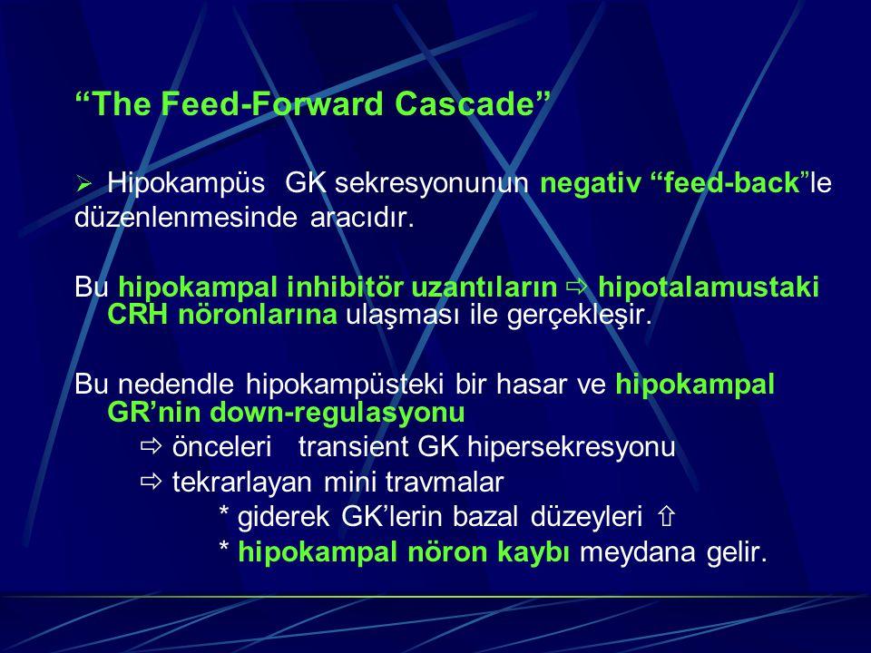 """""""The Feed-Forward Cascade""""  Hipokampüs GK sekresyonunun negativ """"feed-back""""le düzenlenmesinde aracıdır. Bu hipokampal inhibitör uzantıların  hipotal"""