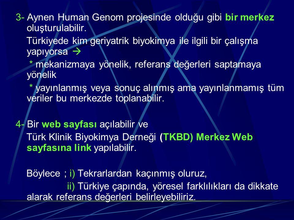 3- Aynen Human Genom projesinde olduğu gibi bir merkez oluşturulabilir. Türkiyede kim geriyatrik biyokimya ile ilgili bir çalışma yapıyorsa  * mekani