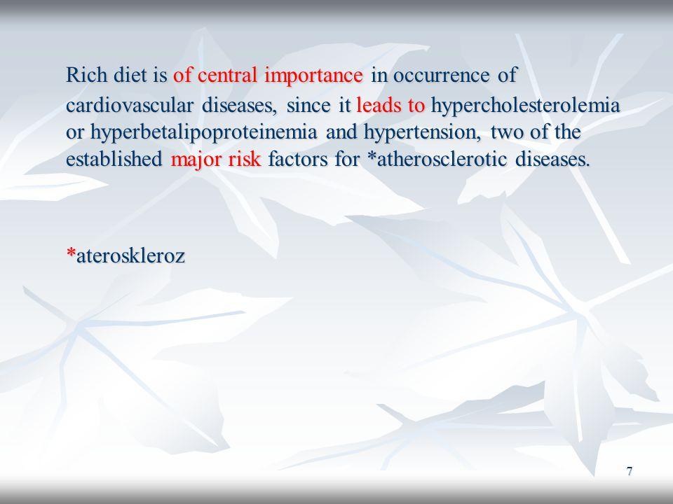 8 Zengin diyeti, kardiyovasküler hastalıkların oluşmasında temel öneme sahiptir.