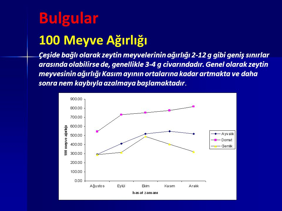 Bulgular 100 Meyve Ağırlığı. Çeşide bağlı olarak zeytin meyvelerinin ağırlığı 2-12 g gibi geniş sınırlar arasında olabilirse de, genellikle 3-4 g civa