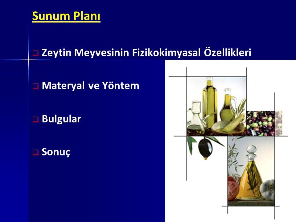 SONUÇ Aynı lokasyonda yetişen zeytin çeşitlerinin bazı fizikokimyasal özelliklerinin çeşide ve olgunlaşma dönemine bağlı olarak değişiklik gösterdiği ortaya çıkmıştır.