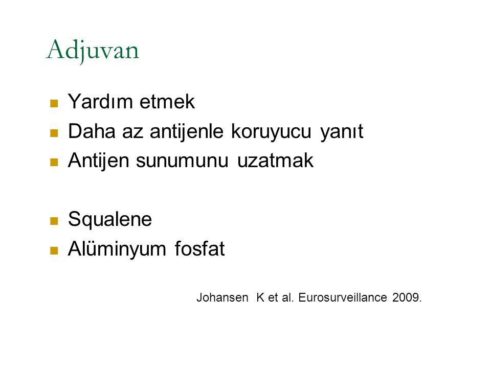 Adjuvan Yardım etmek Daha az antijenle koruyucu yanıt Antijen sunumunu uzatmak Squalene Alüminyum fosfat Johansen K et al. Eurosurveillance 2009.