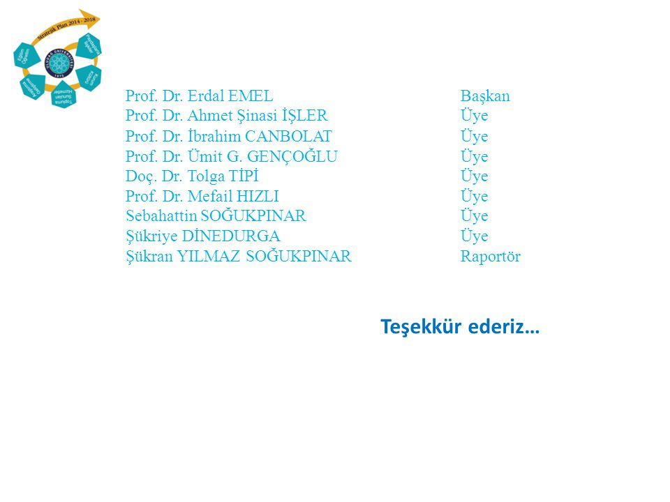 Prof. Dr. Erdal EMEL Başkan Prof. Dr. Ahmet Şinasi İŞLER Üye Prof. Dr. İbrahim CANBOLAT Üye Prof. Dr. Ümit G. GENÇOĞLU Üye Doç. Dr. Tolga TİPİ Üye Pro