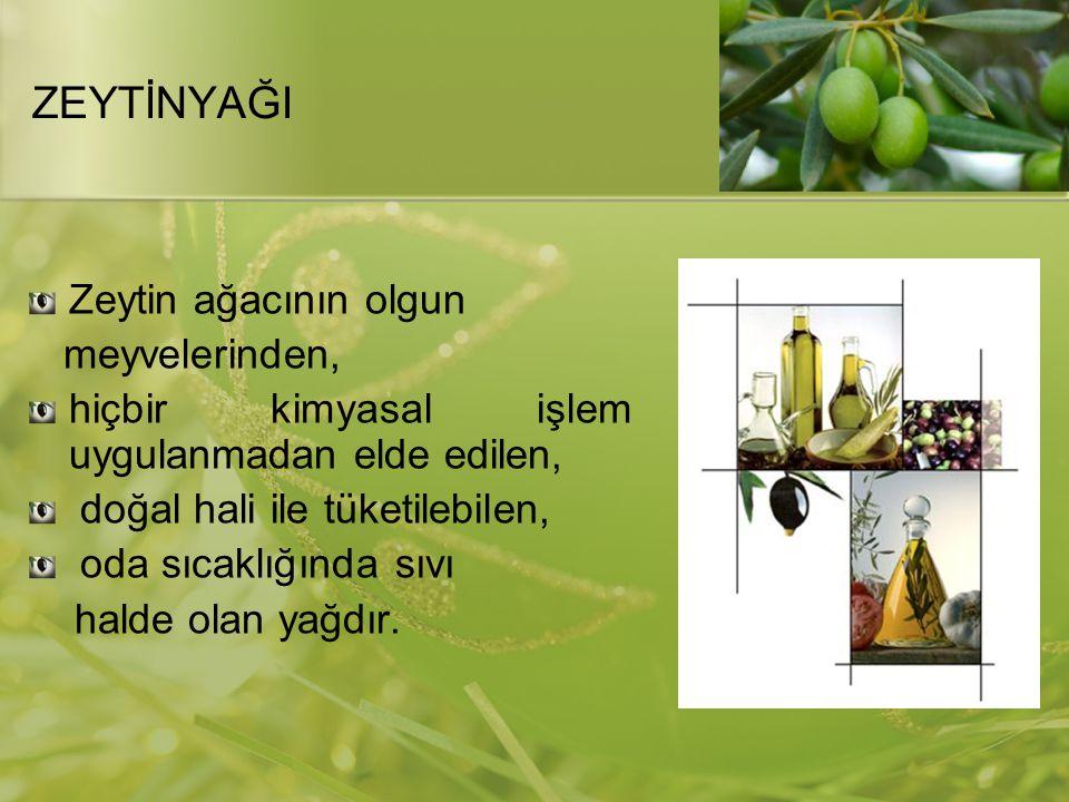 ZEYTİNYAĞININ SINIFLANDIRILMASI Uluslararası Zeytinyağı Konseyi (UZK) ve Türk Standartları Enstitüsü (TSE)'nün tanımlamalarına göre zeytinyağı tipleri: Natürel zeytinyağı Rafine zeytinyağı Riviera zeytinyağı