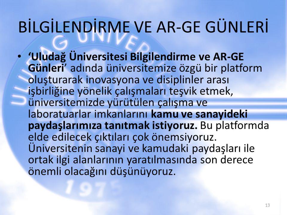 BİLGİLENDİRME VE AR-GE GÜNLERİ 'Uludağ Üniversitesi Bilgilendirme ve AR-GE Günleri' adında üniversitemize özgü bir platform oluşturarak inovasyona ve