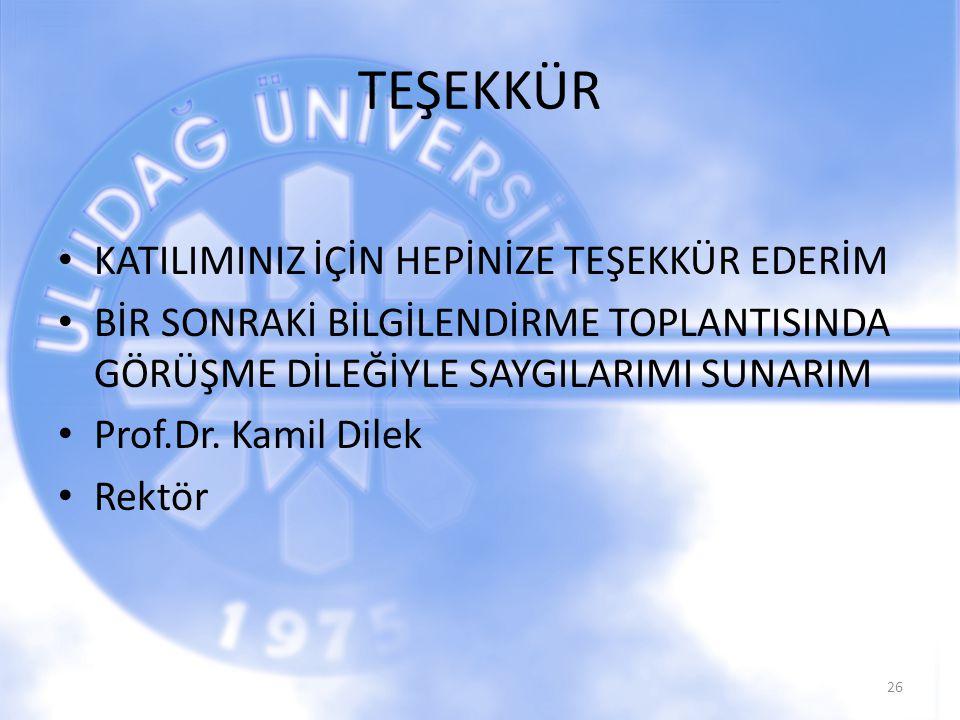 TEŞEKKÜR KATILIMINIZ İÇİN HEPİNİZE TEŞEKKÜR EDERİM BİR SONRAKİ BİLGİLENDİRME TOPLANTISINDA GÖRÜŞME DİLEĞİYLE SAYGILARIMI SUNARIM Prof.Dr. Kamil Dilek