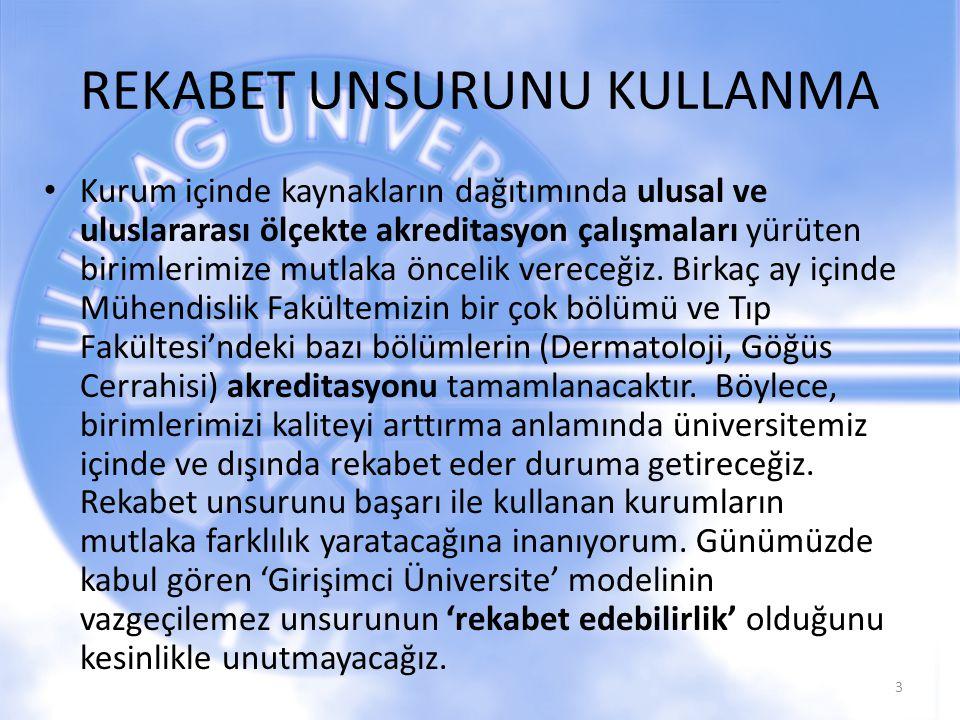 BİLİMSEL ÜRETKENLİĞİ ARTIRMA Uludağ Üniversitesi'nin rektörü olarak görev sürem içinde makale ve atıf sayımızın yanı sıra patent, faydalı model ve lisans sayısı gibi verilerde artış oluşturmaya çalışacağız.