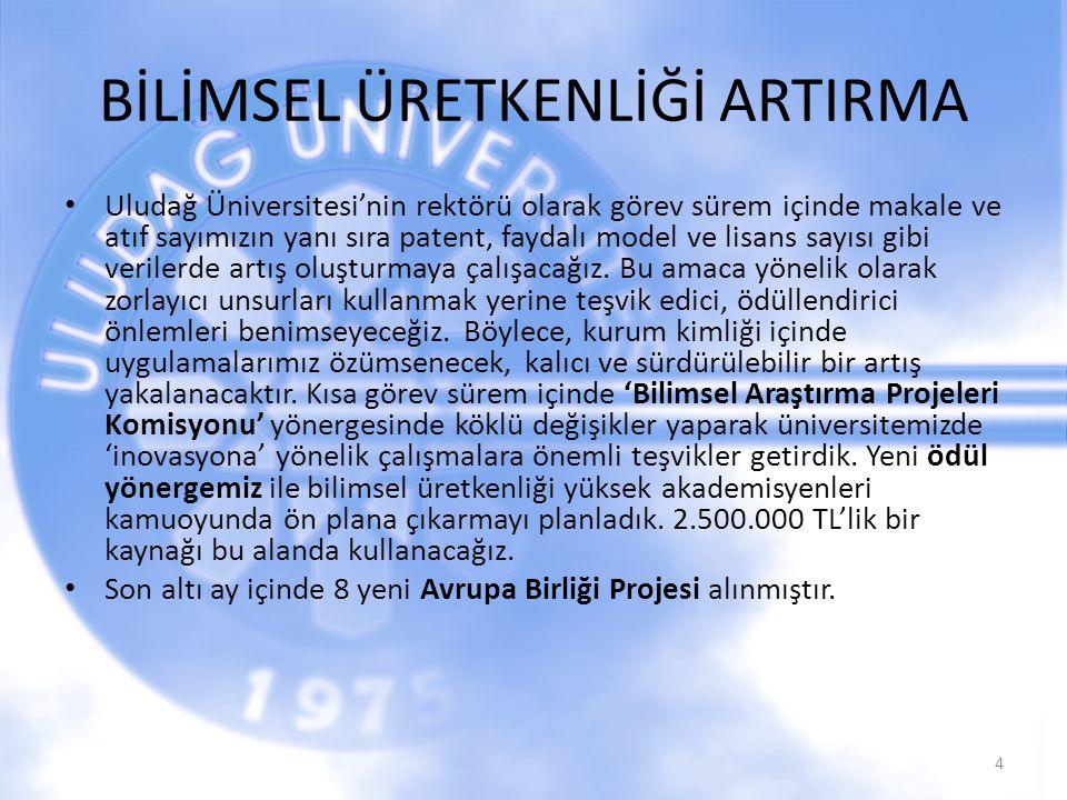 BİLİMSEL ÜRETKENLİĞİ ARTIRMA Uludağ Üniversitesi'nin rektörü olarak görev sürem içinde makale ve atıf sayımızın yanı sıra patent, faydalı model ve lis