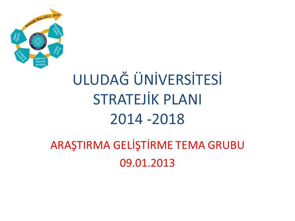 ULUDAĞ ÜNİVERSİTESİ STRATEJİK PLANI 2014 -2018 ARAŞTIRMA GELİŞTİRME TEMA GRUBU 09.01.2013