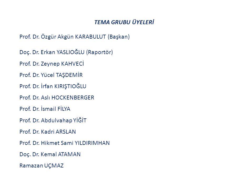 TEMA GRUBU ÜYELERİ Prof. Dr. Özgür Akgün KARABULUT (Başkan) Doç.