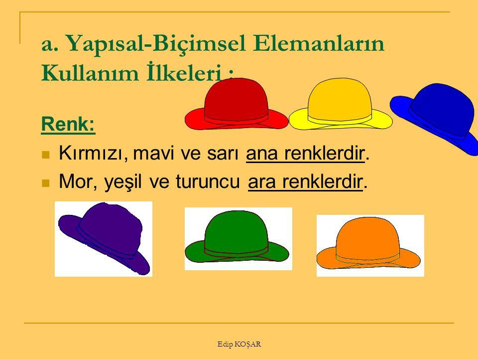 Edip KOŞAR a. Yapısal-Biçimsel Elemanların Kullanım İlkeleri : Renk: Kırmızı, mavi ve sarı ana renklerdir. Mor, yeşil ve turuncu ara renklerdir.
