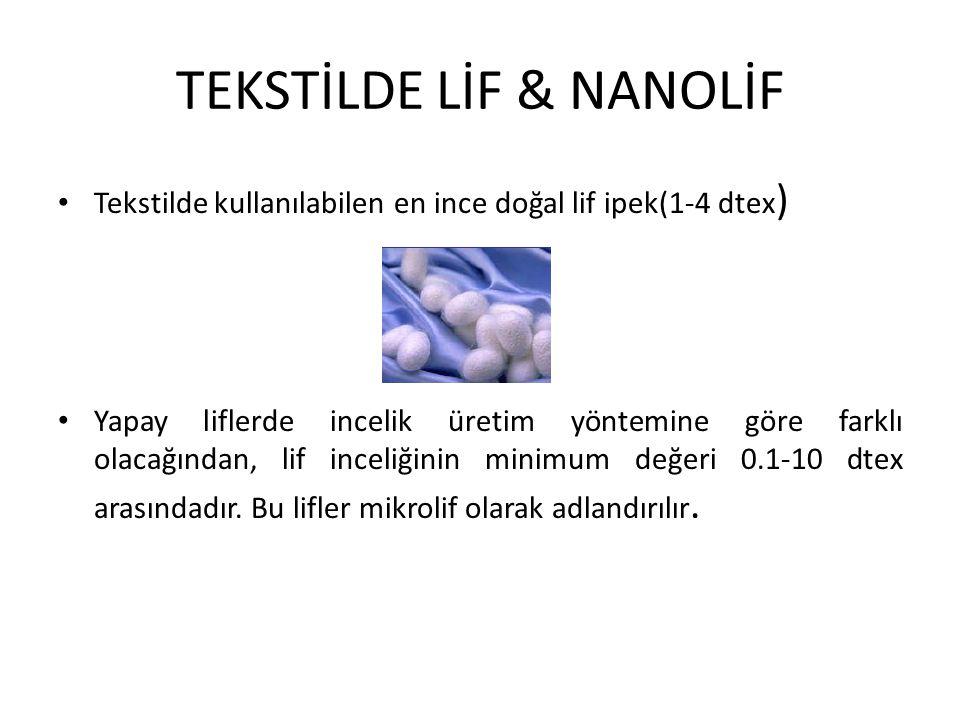 TEKSTİLDE LİF & NANOLİF Tekstilde kullanılabilen en ince doğal lif ipek(1-4 dtex ) Yapay liflerde incelik üretim yöntemine göre farklı olacağından, li