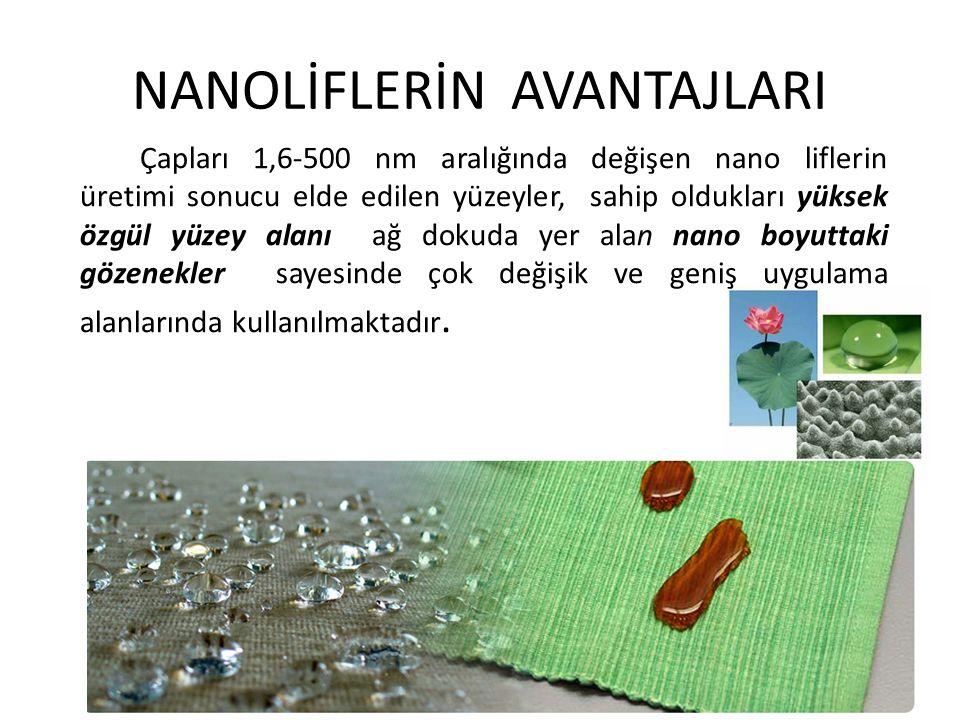 NANOLİFLERİN AVANTAJLARI Çapları 1,6-500 nm aralığında değişen nano liflerin üretimi sonucu elde edilen yüzeyler, sahip oldukları yüksek özgül yüzey a