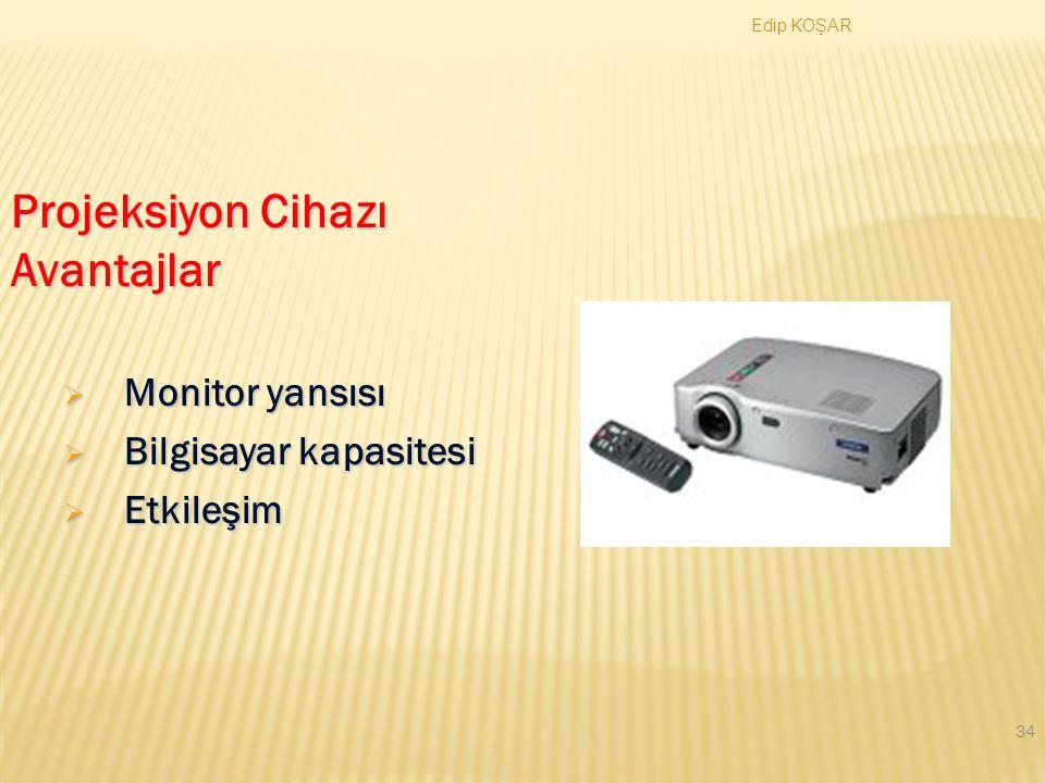 Edip KOŞAR 33 Projeksiyon Cihazı  Elektronik bir tepegöz olarak nitelenebilir.