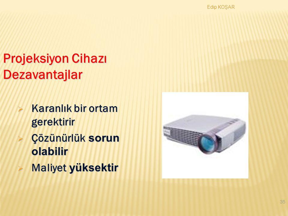 Edip KOŞAR 34 Projeksiyon Cihazı Avantajlar  Monitor yansısı  Bilgisayar kapasitesi  Etkileşim