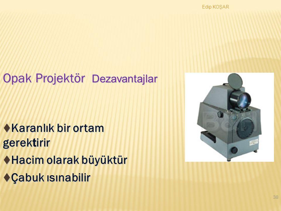 Edip KOŞAR 37 Opak Projektör Şeffaf olmayan materyallerin çok kuvvetli bir ışık kaynağı (~1000 watt) yardımı ile büyütülerek yansıtılmasını sağlayan cihazdır.