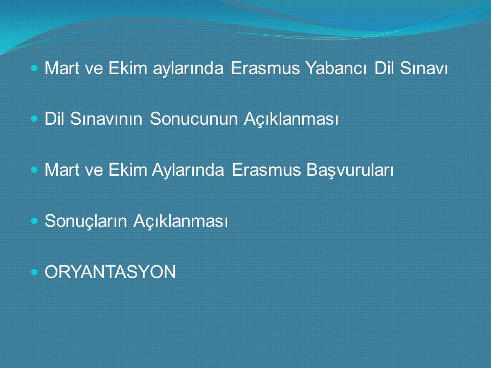 Mart ve Ekim aylarında Erasmus Yabancı Dil Sınavı Dil Sınavının Sonucunun Açıklanması Mart ve Ekim Aylarında Erasmus Başvuruları Sonuçların Açıklanması ORYANTASYON
