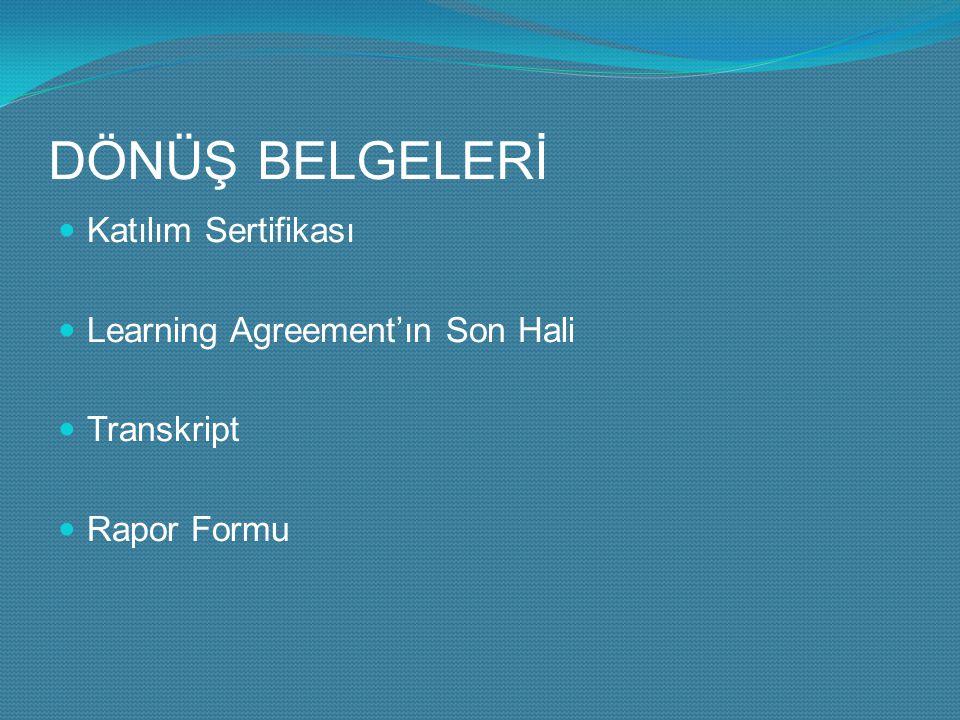 DÖNÜŞ BELGELERİ Katılım Sertifikası Learning Agreement'ın Son Hali Transkript Rapor Formu