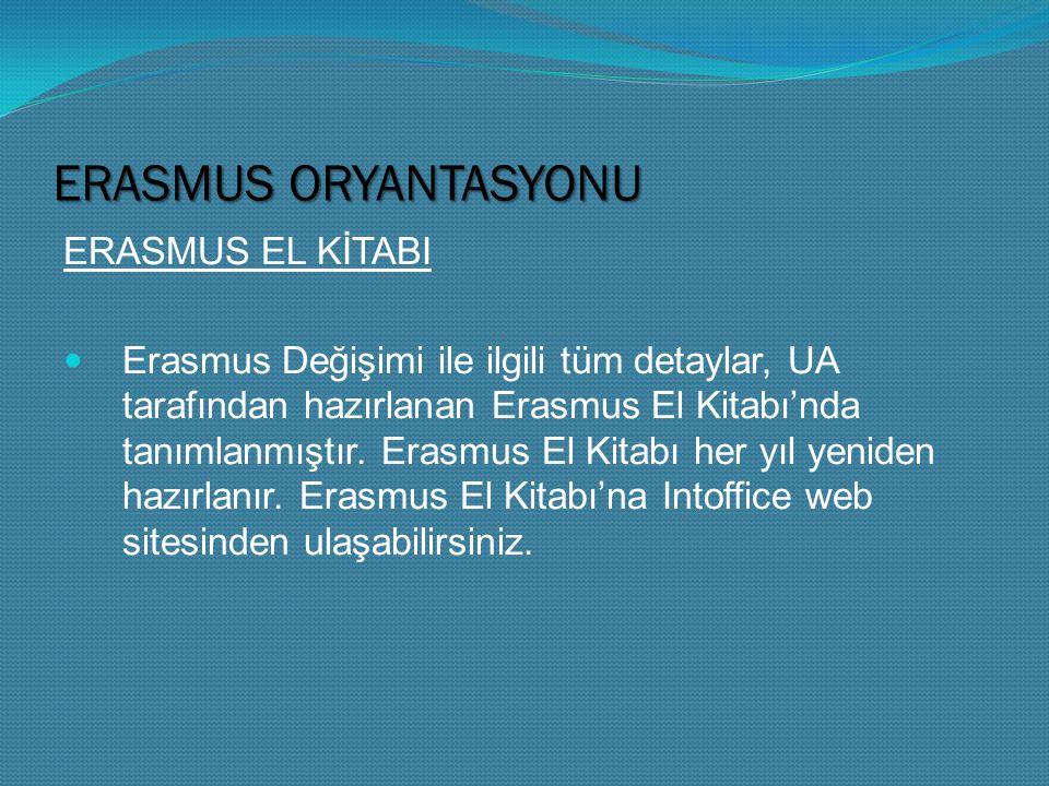 ERASMUS ORYANTASYONU ERASMUS EL KİTABI Erasmus Değişimi ile ilgili tüm detaylar, UA tarafından hazırlanan Erasmus El Kitabı'nda tanımlanmıştır.