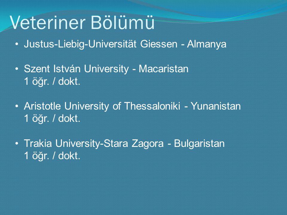 Veteriner Bölümü Justus-Liebig-Universität Giessen - Almanya Szent István University - Macaristan 1 öğr. / dokt. Aristotle University of Thessaloniki