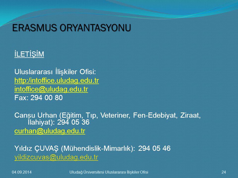 İLETİŞİM Uluslararası İlişkiler Ofisi: http:/intoffice.uludag.edu.tr intoffice@uludag.edu.tr Fax: 294 00 80 Cansu Urhan (Eğitim, Tıp, Veteriner, Fen-Edebiyat, Ziraat, İlahiyat): 294 05 36 curhan@uludag.edu.tr Yıldız ÇUVAŞ (Mühendislik-Mimarlık): 294 05 46 yildizcuvas@uludag.edu.tr ERASMUS ORYANTASYONU 04.09.201424Uludağ Üniversitesi Uluslararası İlişkiler Ofisi