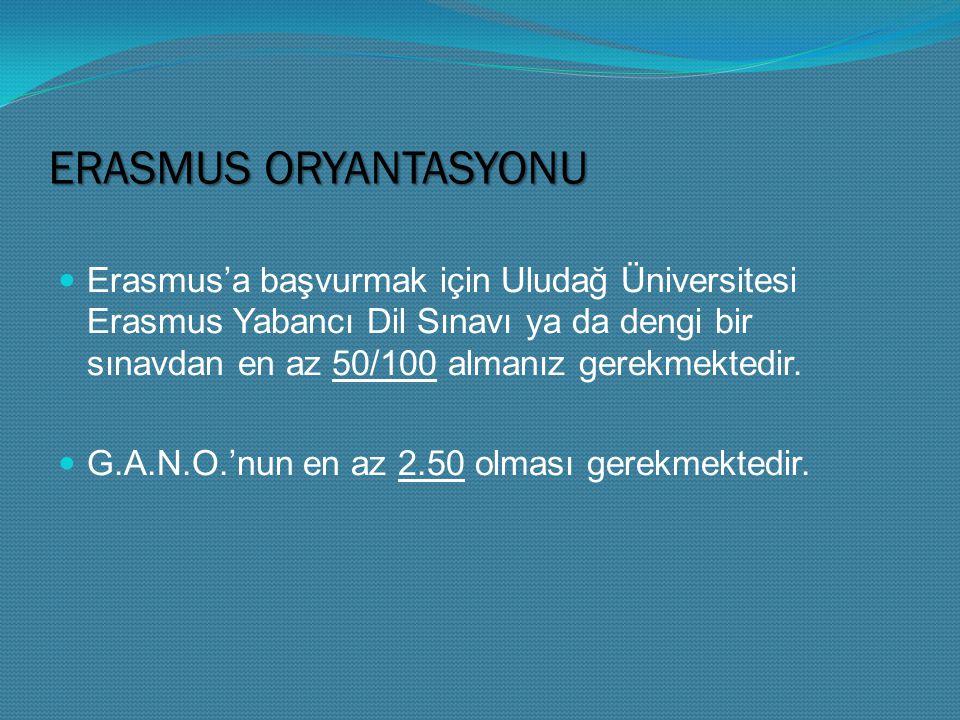 ERASMUS ORYANTASYONU Erasmus'a başvurmak için Uludağ Üniversitesi Erasmus Yabancı Dil Sınavı ya da dengi bir sınavdan en az 50/100 almanız gerekmektedir.
