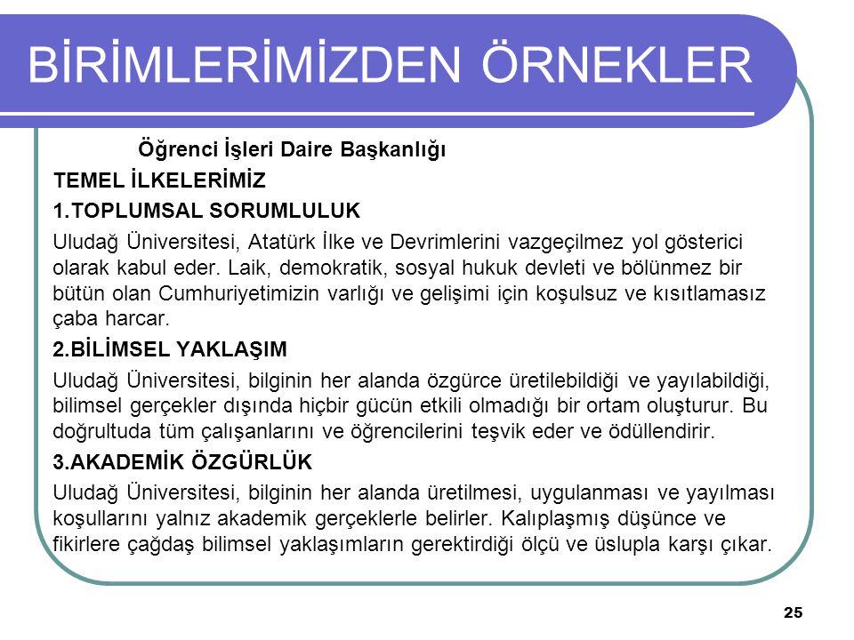 BİRİMLERİMİZDEN ÖRNEKLER Öğrenci İşleri Daire Başkanlığı TEMEL İLKELERİMİZ 1.TOPLUMSAL SORUMLULUK Uludağ Üniversitesi, Atatürk İlke ve Devrimlerini vazgeçilmez yol gösterici olarak kabul eder.