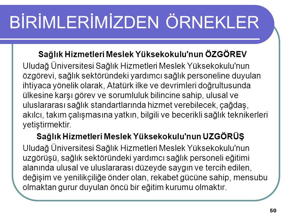 BİRİMLERİMİZDEN ÖRNEKLER Sağlık Hizmetleri Meslek Yüksekokulu nun ÖZGÖREV Uludağ Üniversitesi Sağlık Hizmetleri Meslek Yüksekokulu nun özgörevi, sağlık sektöründeki yardımcı sağlık personeline duyulan ihtiyaca yönelik olarak, Atatürk ilke ve devrimleri doğrultusunda ülkesine karşı görev ve sorumluluk bilincine sahip, ulusal ve uluslararası sağlık standartlarında hizmet verebilecek, çağdaş, akılcı, takım çalışmasına yatkın, bilgili ve becerikli sağlık teknikerleri yetiştirmektir.