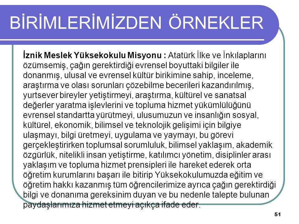BİRİMLERİMİZDEN ÖRNEKLER İznik Meslek Yüksekokulu Misyonu : Atatürk İlke ve İnkılaplarını özümsemiş, çağın gerektirdiği evrensel boyuttaki bilgiler ile donanmış, ulusal ve evrensel kültür birikimine sahip, inceleme, araştırma ve olası sorunları çözebilme becerileri kazandırılmış, yurtsever bireyler yetiştirmeyi, araştırma, kültürel ve sanatsal değerler yaratma işlevlerini ve topluma hizmet yükümlülüğünü evrensel standartta yürütmeyi, ulusumuzun ve insanlığın sosyal, kültürel, ekonomik, bilimsel ve teknolojik gelişimi için bilgiye ulaşmayı, bilgi üretmeyi, uygulama ve yaymayı, bu görevi gerçekleştirirken toplumsal sorumluluk, bilimsel yaklaşım, akademik özgürlük, nitelikli insan yetiştirme, katılımcı yönetim, disiplinler arası yaklaşım ve topluma hizmet prensipleri ile hareket ederek orta öğretim kurumlarını başarı ile bitirip Yüksekokulumuzda eğitim ve öğretim hakkı kazanmış tüm öğrencilerimize ayrıca çağın gerektirdiği bilgi ve donanıma gereksinim duyan ve bu nedenle talepte bulunan paydaşlarımıza hizmet etmeyi açıkça ifade eder.