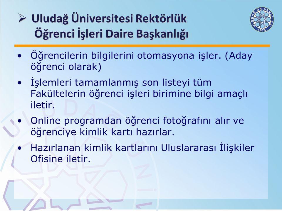  Uludağ Üniversitesi Rektörlük Öğrenci İşleri Daire Başkanlığı Öğrencilerin bilgilerini otomasyona işler. (Aday öğrenci olarak) İşlemleri tamamlanmış