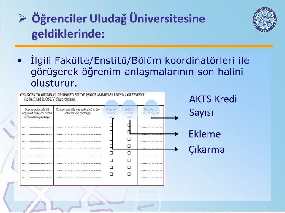  Öğrenciler Uludağ Üniversitesine geldiklerinde: İlgili Fakülte/Enstitü/Bölüm koordinatörleri ile görüşerek öğrenim anlaşmalarının son halini oluştur