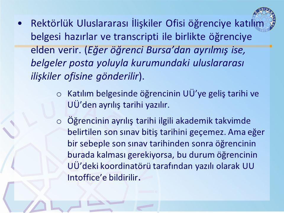 Rektörlük Uluslararası İlişkiler Ofisi öğrenciye katılım belgesi hazırlar ve transcripti ile birlikte öğrenciye elden verir. (Eğer öğrenci Bursa'dan a