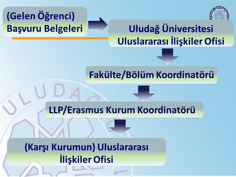 Uludağ Üniversitesi Uluslararası İlişkiler Ofisi Fakülte/Bölüm Koordinatörü LLP/Erasmus Kurum Koordinatörü (Karşı Kurumun) Uluslararası İlişkiler Ofis