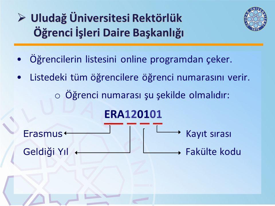  Uludağ Üniversitesi Rektörlük Öğrenci İşleri Daire Başkanlığı Öğrencilerin listesini online programdan çeker. Listedeki tüm öğrencilere öğrenci numa