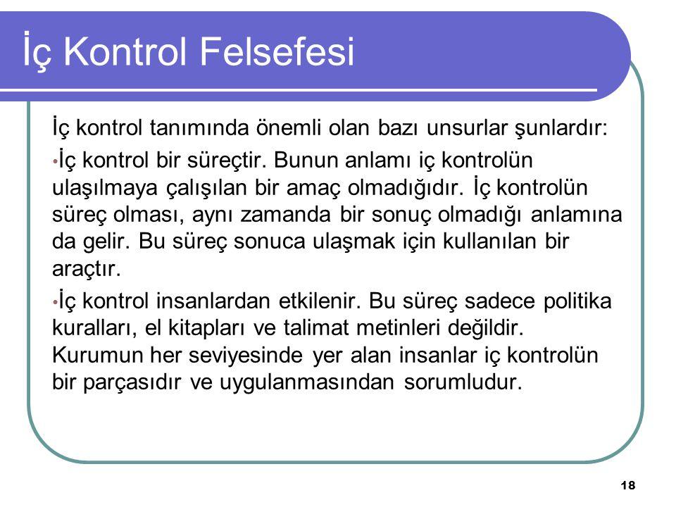 İç Kontrol Felsefesi İç kontrol tanımında önemli olan bazı unsurlar şunlardır: İç kontrol bir süreçtir. Bunun anlamı iç kontrolün ulaşılmaya çalışılan