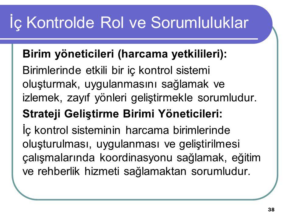 İç Kontrolde Rol ve Sorumluluklar Birim yöneticileri (harcama yetkilileri): Birimlerinde etkili bir iç kontrol sistemi oluşturmak, uygulanmasını sağla