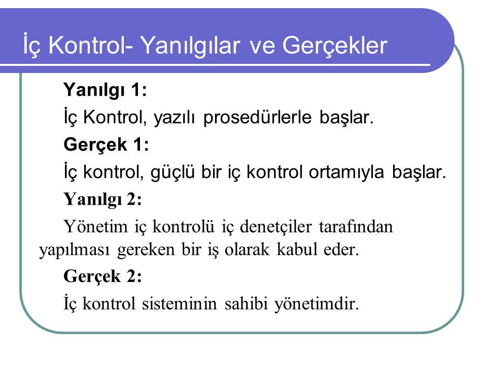 İç Kontrol- Yanılgılar ve Gerçekler Yanılgı 1: İç Kontrol, yazılı prosedürlerle başlar. Gerçek 1: İç kontrol, güçlü bir iç kontrol ortamıyla başlar. Y