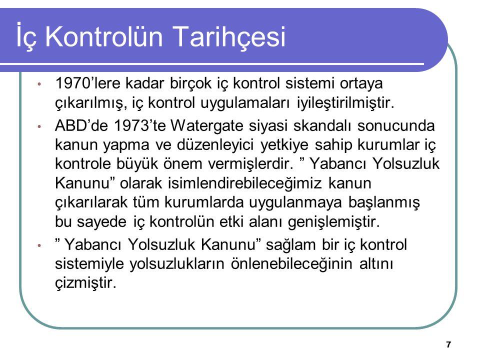 İç Kontrolün Tarihçesi 1970'lere kadar birçok iç kontrol sistemi ortaya çıkarılmış, iç kontrol uygulamaları iyileştirilmiştir. ABD'de 1973'te Watergat