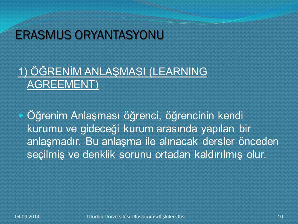 1) ÖĞRENİM ANLAŞMASI (LEARNING AGREEMENT) Öğrenim Anlaşması öğrenci, öğrencinin kendi kurumu ve gideceği kurum arasında yapılan bir anlaşmadır.