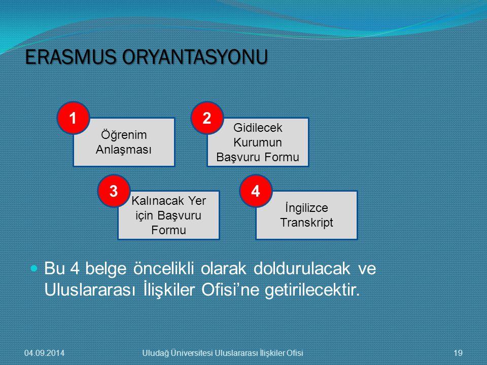 Bu 4 belge öncelikli olarak doldurulacak ve Uluslararası İlişkiler Ofisi'ne getirilecektir.