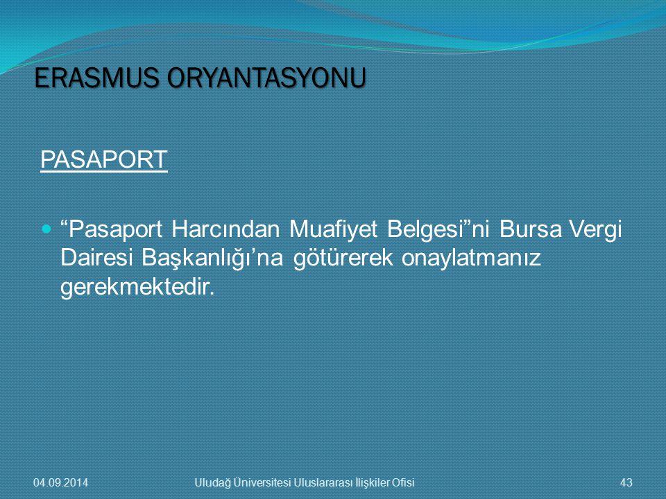 PASAPORT Pasaport Harcından Muafiyet Belgesi ni Bursa Vergi Dairesi Başkanlığı'na götürerek onaylatmanız gerekmektedir.