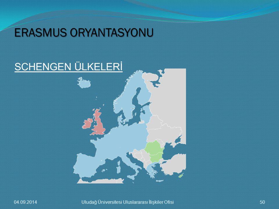 SCHENGEN ÜLKELERİ ERASMUS ORYANTASYONU 04.09.201450Uludağ Üniversitesi Uluslararası İlişkiler Ofisi