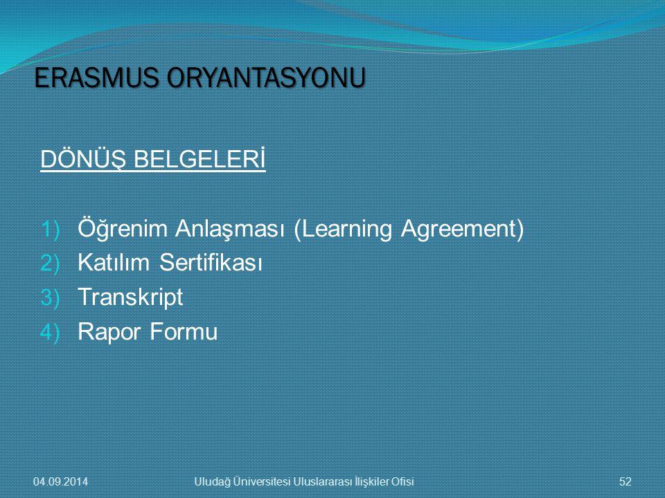 DÖNÜŞ BELGELERİ 1) Öğrenim Anlaşması (Learning Agreement) 2) Katılım Sertifikası 3) Transkript 4) Rapor Formu ERASMUS ORYANTASYONU 04.09.201452Uludağ Üniversitesi Uluslararası İlişkiler Ofisi