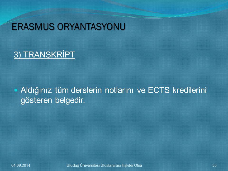 3) TRANSKRİPT Aldığınız tüm derslerin notlarını ve ECTS kredilerini gösteren belgedir.