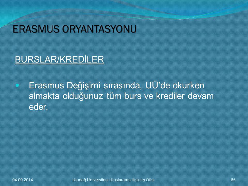 BURSLAR/KREDİLER Erasmus Değişimi sırasında, UÜ'de okurken almakta olduğunuz tüm burs ve krediler devam eder.